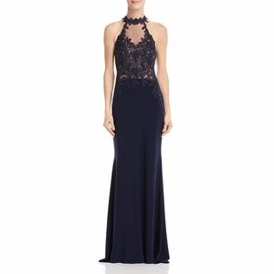 AVERY G Embellished Sheer Evening Dress